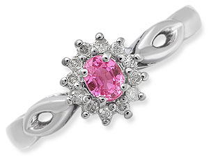 9ct White Gold Pink Sapphire and Diamond Cluster Ring 047204-M product image