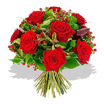 A dozen red flowers