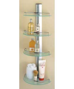 4 tier. Wall mounted. Size (W)29, (D)18, (H)78cm
