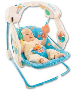 A compact portable swing which features 2 water ta