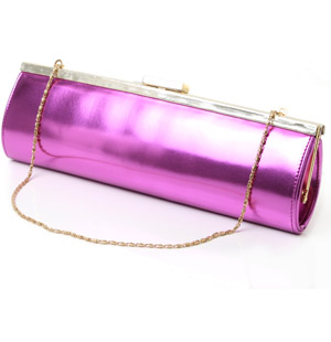 Mirror effect hard frame clutch bag featuring magnetic clasp fastening and detachable metal chain. S