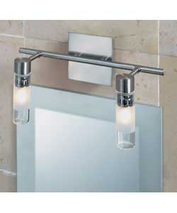 Brushed chrome finish with acid glass shades.IP44 twin bathroom light.Size (H)17, (W)32.5, (D)13.5cm - CLICK FOR MORE INFORMATION