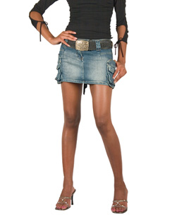 Belted Distressed Denim Mini Skirt Size product image