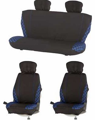 Blue check car seat and headrest covers. with foam padding for extra comfort. Made from polyester. 2mm thick foam padding. 2 front seat covers and 2 piece rear seat covers. 4 headrest covers. Universal fit. Compatible with seat side airbag. EAN: 1518