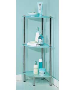 Chrome finish 3 tier unit with frosted glass shelv