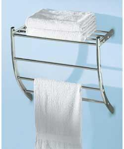 Wall mounted 3 chromed towel rails and rack to hold folded towels