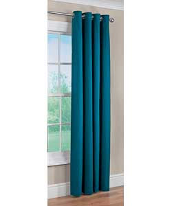 Unbranded Colour Match Lima Ring Top Teal Curtains - 66 x 90 inches
