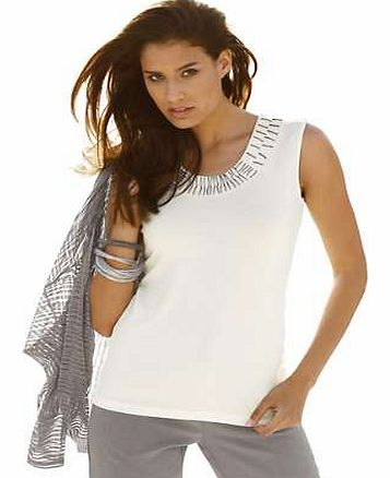 Unbranded Creation L Embellished Neckline Top