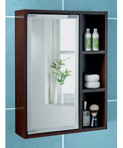 dark wood frosted edge mirror door cabinet with 3 integral display