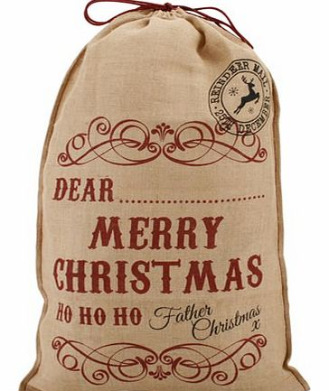 Dear.....Merry Christmas, Ho Ho Ho Hessian Santa Sack This fun and stylish Santa Sack is made from hessian and is printed with DEAR........MERRY CHRISTMAS, HO HO HO, Father Christmas x. This fabulous sack will appeal to kids and adults (well, Father