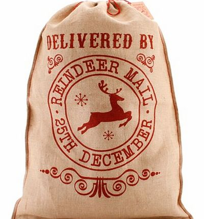 Unbranded Delivered By Reindeer Mail Hessian Christmas