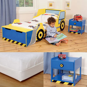 Digger Toddler Bed And Bedside Table With