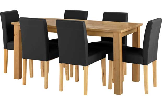 Compare Prices of Dining Tables read Dining Table Reviews  : unbranded elliott oak stain dining table and 6 black chairs from www.comparestoreprices.co.uk size 620 x 404 jpeg 17kB