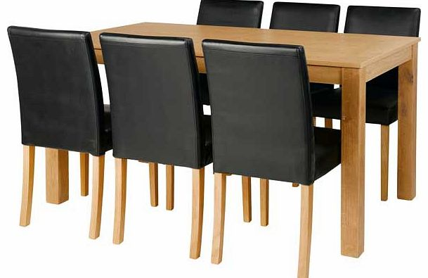 Compare Prices of Dining Tables read Dining Table Reviews  : unbranded elmdon oak 150cm dining table and 6 black chairs from www.comparestoreprices.co.uk size 609 x 395 jpeg 29kB