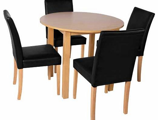 black dining table and 4 chairs : unbranded elmdon oak circular dining table and 4 black from www.comparestoreprices.co.uk size 521 x 395 jpeg 21kB