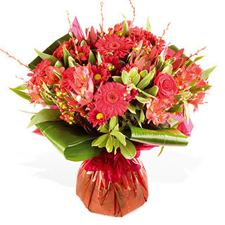 A all round handtied of red roses germini xanths alstro & leucodendron with pussy willow hyperic - CLICK FOR MORE INFORMATION