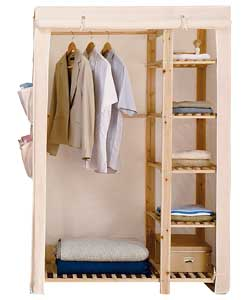 Fabric Wooden Frame Double Wardrobe Cream Review