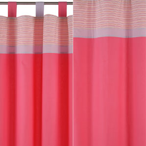Cerise Pink Tab Top Voile Net Curtain Panel - Voiles and Sheers UK