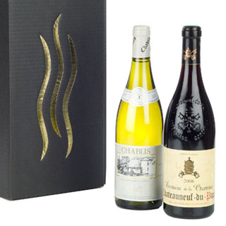 Domaine de la Chartreuse CdP and Chablis Domaine Tremblay in Black/Gold Presentation Gift Box