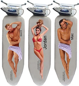 naked man ironing board