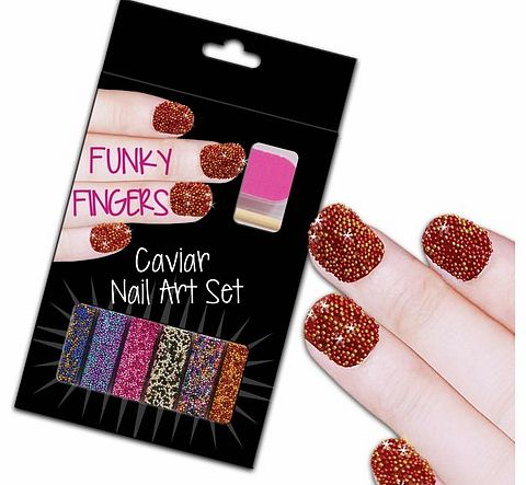 Funky Fingers Caviar Nail Art Set Funky Fingers Caviar Nail Art Set includes 6 small bottles of beads, nail file and cuticle remover. Each vial measures around 1cm x 3.5 cm x 2 cm. Just paint your nail with varnish, scatter some caviar beads over the