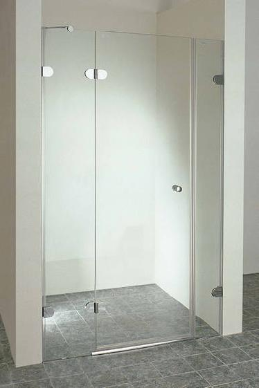 An exceptionally high quality stylish shower door.  Features include: Solid brass chrome plated risi