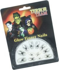 Stick on nails with a spider which glow in the dark. A fantastic finishing touch to your Halloween - CLICK FOR MORE INFORMATION