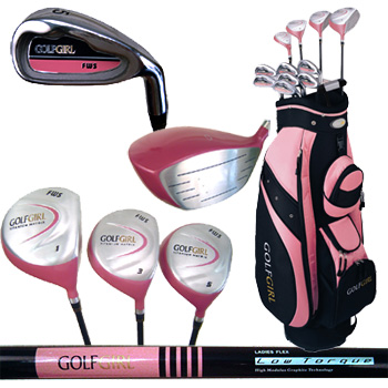 BRAND NEW IN BOXGolfGirl Ladies` Complete Golf Package with cart bag       The Pink Collecti
