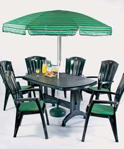 Green Resin 6 Seater Patio Set