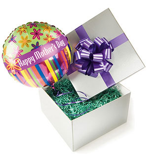 A Happy Mother's Day balloon presented in a silver gift box.