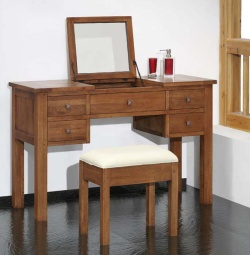 Havana Oak Dressing Table With Lift Up Mirror Furniture