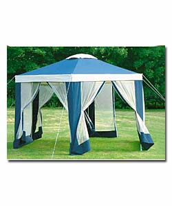Hexagonal Gazebo With Mesh Panels Garden Furniture