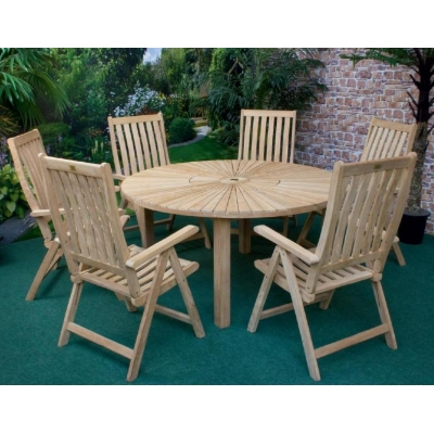 Unbranded Illinois Round Sunburst Teak Table and 6 Chairs