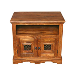 Jali block tv stand sheesham wood tv stand review for Block tv stand