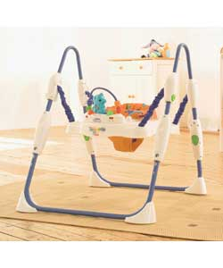 A freestanding jumper with lights, sounds and toys