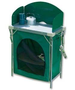 Camping Kitchen Unit With Shelves And Windshield