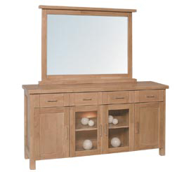 Knightsbridge 4 Door Sideboard With Wall Mirror