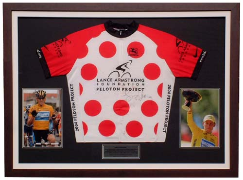 Unbranded Lance Armstrong signed and framed race worn jersey