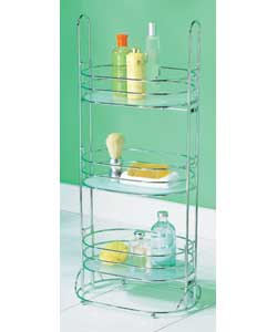 3 tier chrome caddy with frosted glass shelves. Si