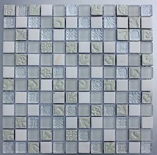 Create a modern quirky feature in your kitchen or bathroom with this white patterned mosaic A combination of frosted glass metallic effect natural stone and plain glass create a real design statement the perfect addition to any interior dcor Pressed