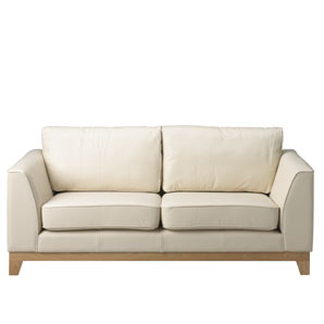 large sofa in sumptuous leather with a cream finish