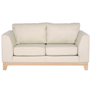 two seater sofa in sumptuous leather with a cream finish