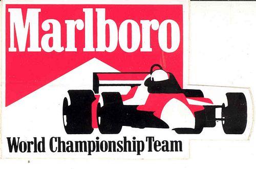 Marlboro Championship Team Car Sticker 9cm X 14cm