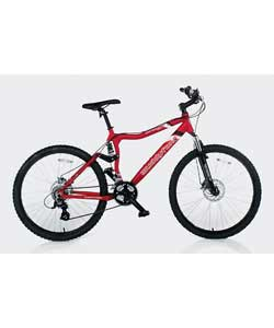 Colour of frame red. 21 Shimano gears. Gears type grip shift. Front brakes disc.Rear brakes disc. Fr