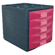 Unbranded Multi 5 Drawer Desktop Closed Pink