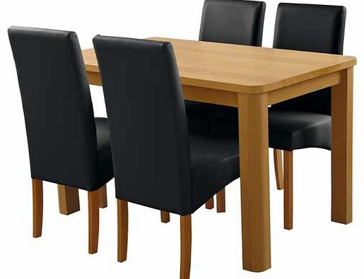 dining chair seat pads : unbranded mursley oak veneer dining table and 4 black from www.comparestoreprices.co.uk size 515 x 395 jpeg 21kB