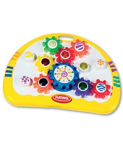 Pressing the Playskool button makes the fun begin
