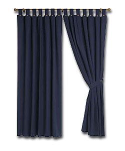 Pair of Navy Lima Ready Made Curtains - (W)46, (D)72ins