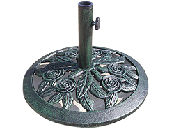 This opulent antique finish green arboreta parasol base flatters any of our range of smaller