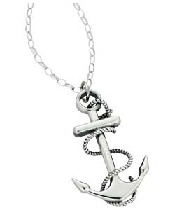 Oxidised Sterling Silver Anchor Pendant product image